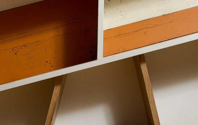 parete attrezzata storta legno di recupero
