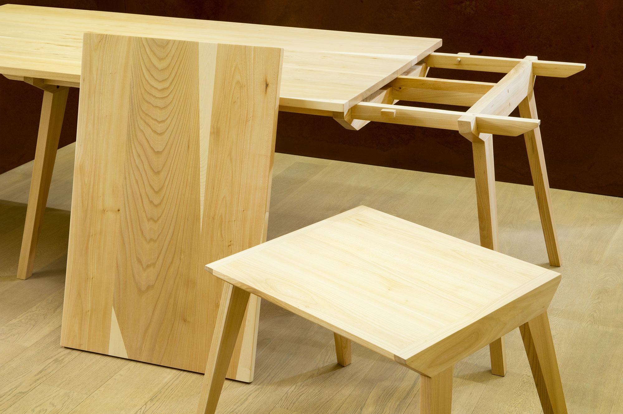 tavolo legno massello olmo allungabile