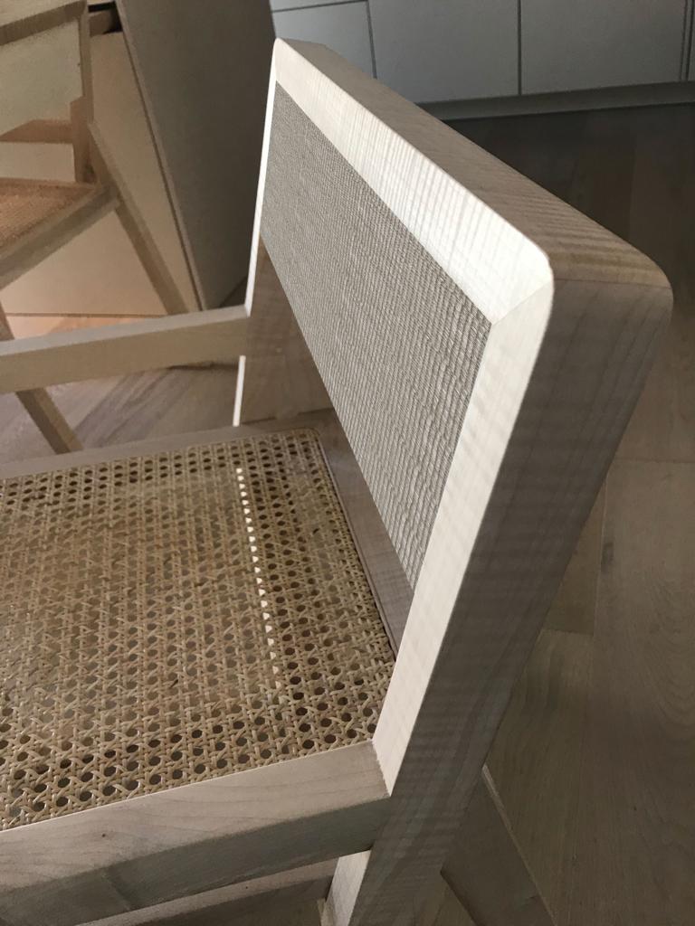 Seduta in legno massello acero paglia di Vienna e stoffa