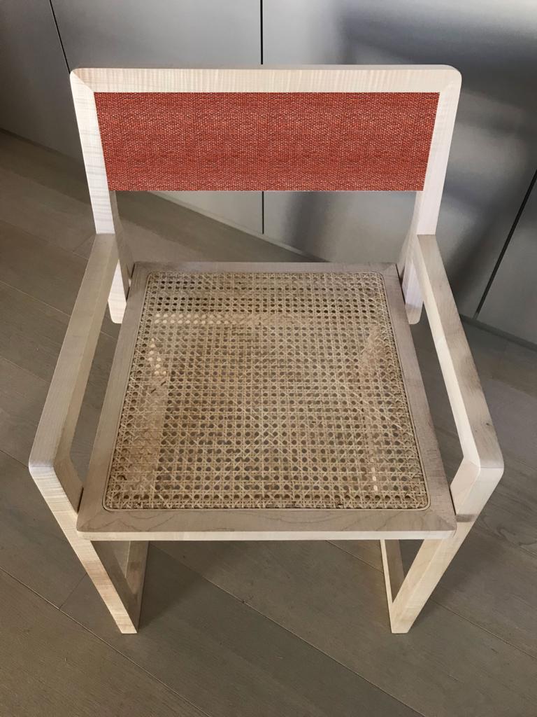 sedia legno d'acero massello e paglia di vienna