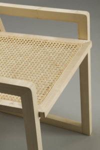 sedia in legno acero chiaro e paglia di Vienna design contemporaneo