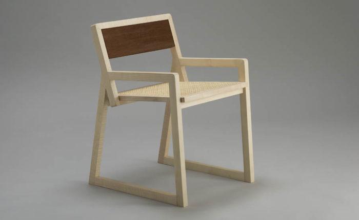 sedia design in legno contemporaneo acero chiaro