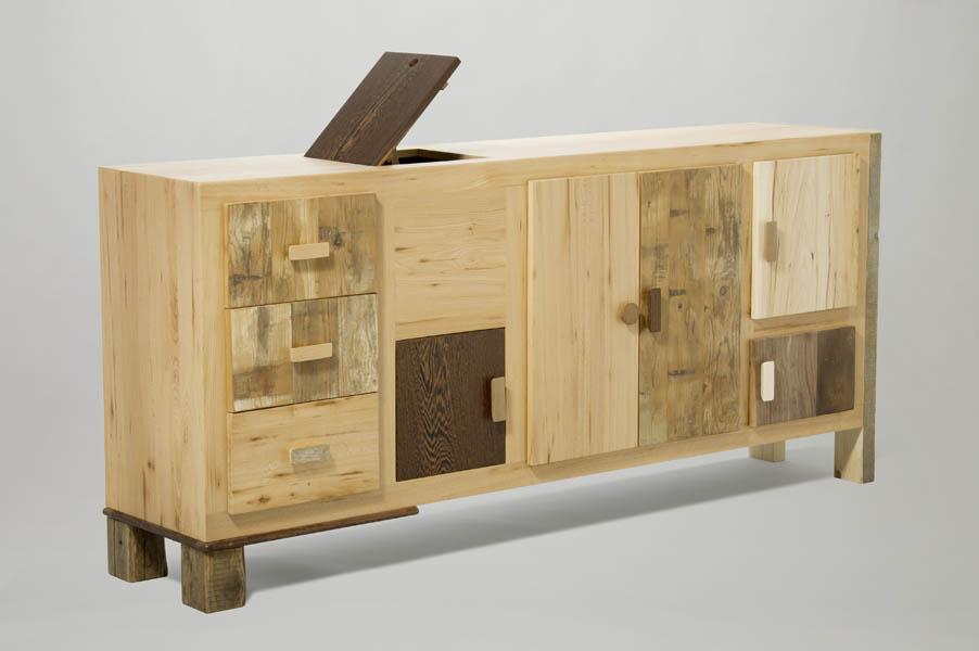 credenza soggiorno in legno di recupero e massello nuovo