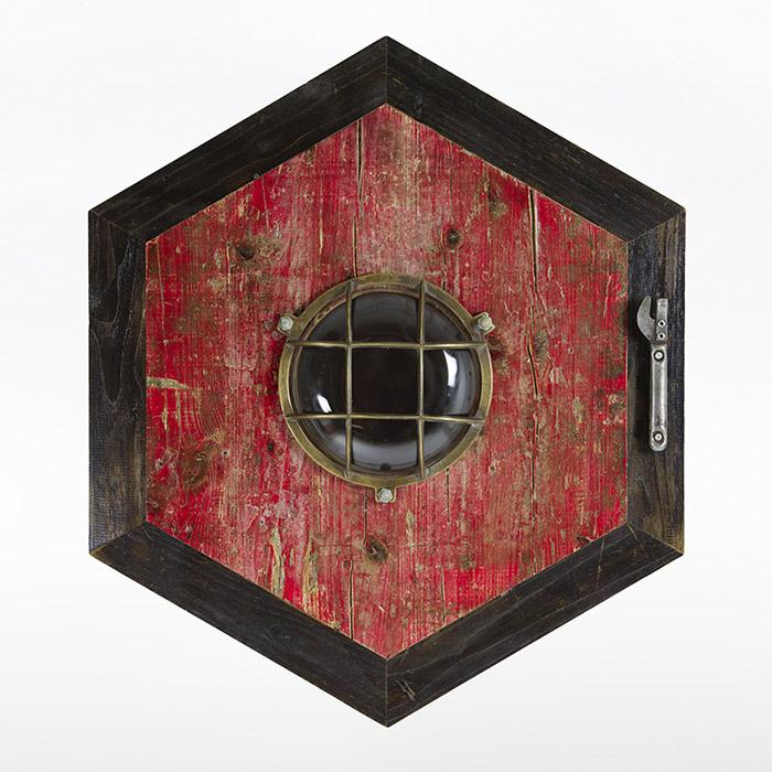 mobile ingresso in legno di recupero e ferro