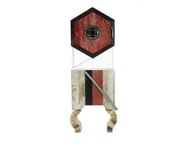 Mobile alto tipo dispensa in legno di recupero colorato