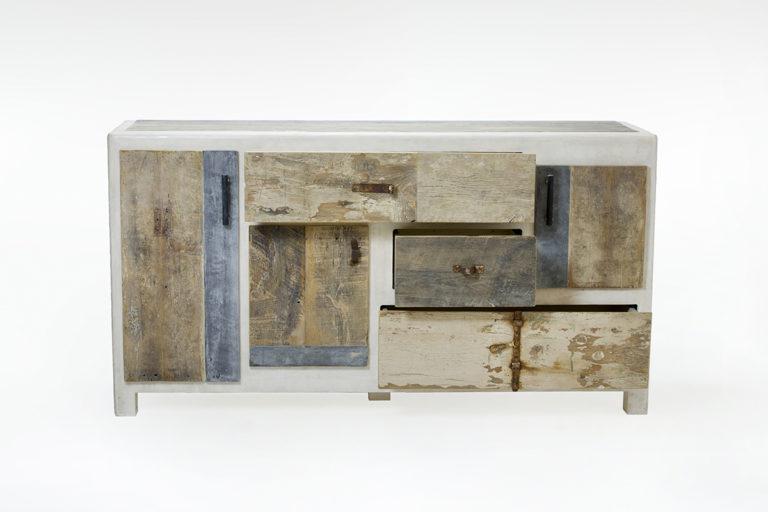 creenza in resina e legno di recupero Artica bianca