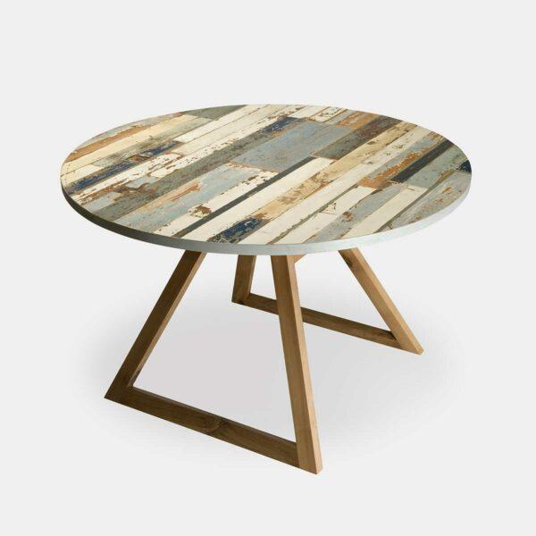 tavolo rotondo in legno azzurro e gamba in noce