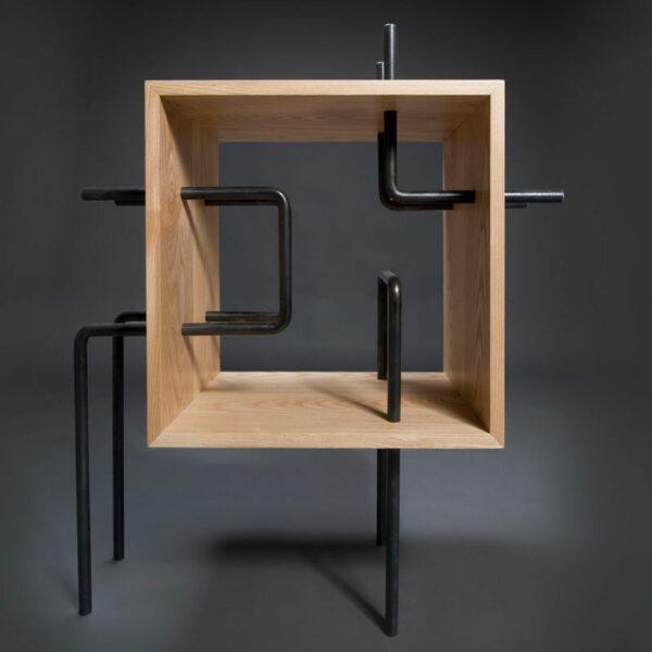 cubo tubo libreria frassino e ferro