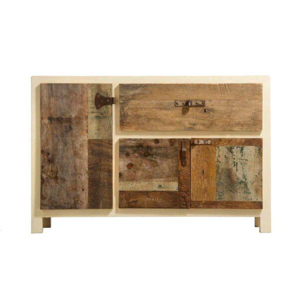credenza in resina e legno riciclato beige