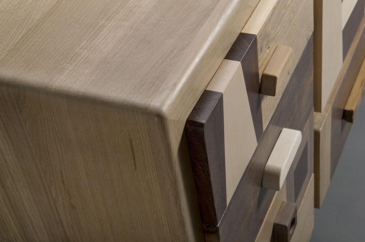 Credenza Nature Grafica legno acero, rovere e noce canaletto al naturale