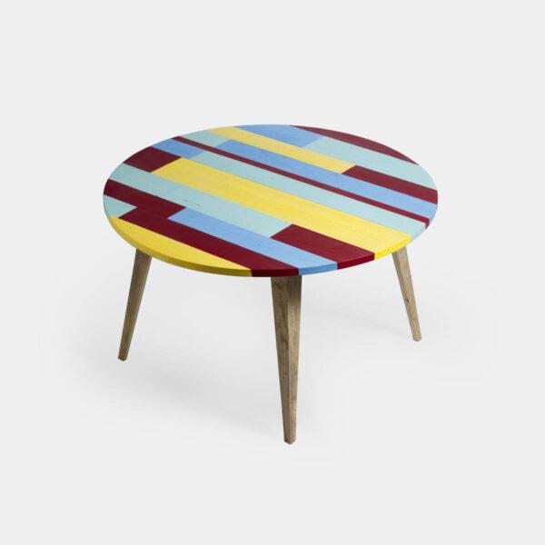 Tavolo rotondo allungabile in legno colorato