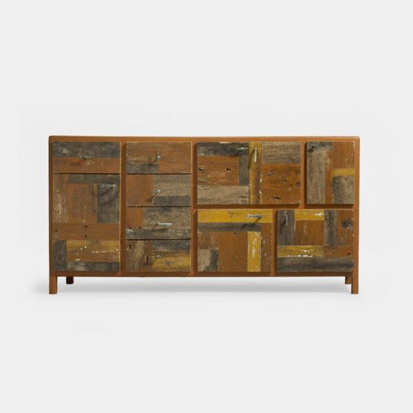 credenza etrusca con cassetti legno riciclato